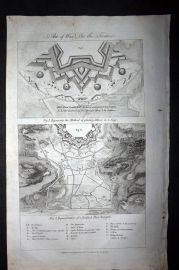Hall 1789 Antique Print. Art of War - Fortification Plans